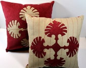 Pair of  Rust Appliqued Pillows