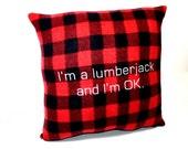 Lumberjack Red Plaid Fleece Pillow