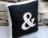 Black Burlap and Unbleach Canvas Ampersand Pillow