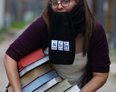 Scarf - Nerdy Fleece black with periodic table elements