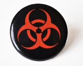 Bio-hazard Symbol  Black Pin Button
