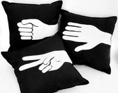 Rock, Paper, Scissors Pillow Set- white recycled felt on black cotton blend fabric pillow set