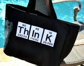 Black Tote Bag- Periodic Table Science Chemistry Word- Think