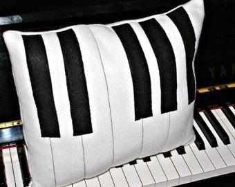 Piano Keys Fleece Black and White Pillow