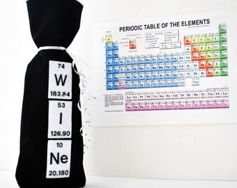 Wine Gift Bag- Periodic Table Science Chemical Elements- Black Cotton-geekery
