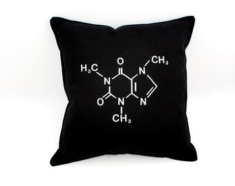 Caffeine Pillow- Molecular Structure Black Cotton Blend-Geeky Pillow