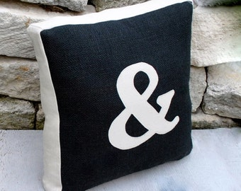 Black Burlap and Unbleach Canvas Ampersand Pillow