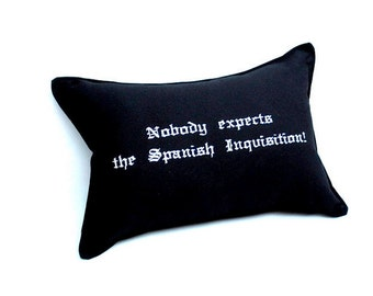 Spanish Inquisition Pillow- Black Cotton Embroidered