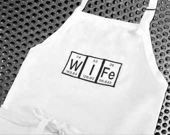 Geeky Periodic Table  Apron - Wife white adjustable apron
