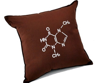 Chocolate Molecular Structure Pillow Science Chemistry Geeky Cushion