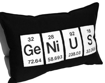 Genius Periodic Table Embroidered Science Chemistry Black Cotton Pillow