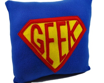 Super Geek  Badge Fleece Royal Blue Pillow