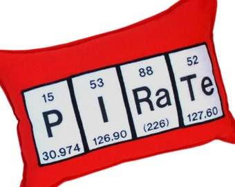 Pirate Red Felt   Chemical Elements Pillow