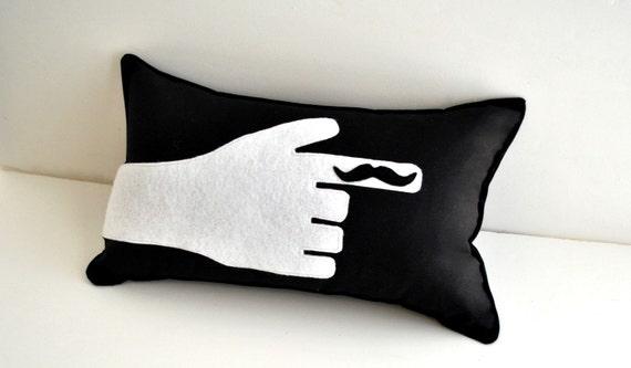 Finger Mustache Pillow