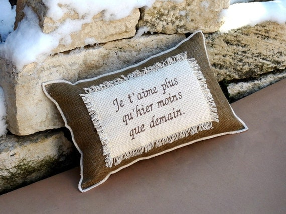 Burlap pillow Home decor-  French Love quote- Romantic Anniversary Wedding Gift- Cushion