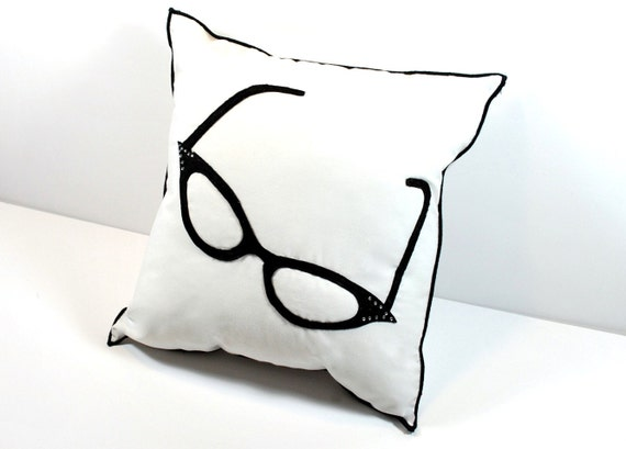 Black Felt Cats Eye Glasses  Appliqued on White Cotton Pillow