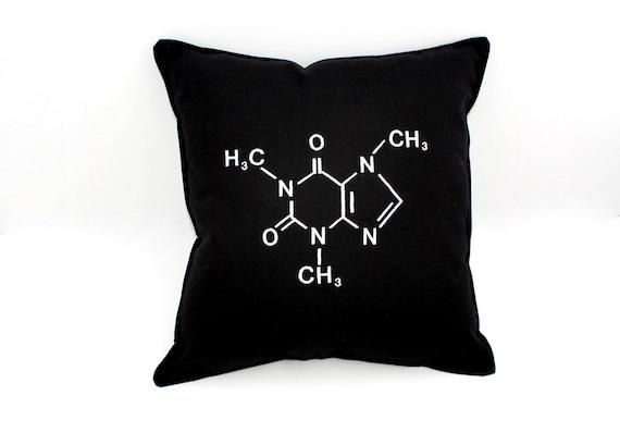 Caffeine Pillow- Molecular Structure Black Cotton Blend-Geeky Pillow