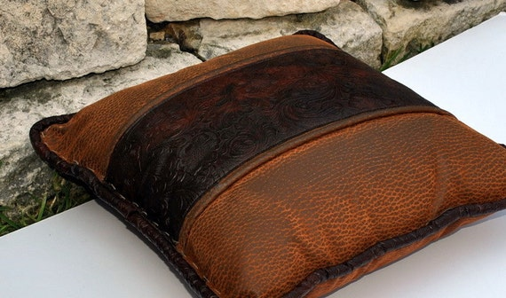 Two Tone Brown Faux Leather Pillow