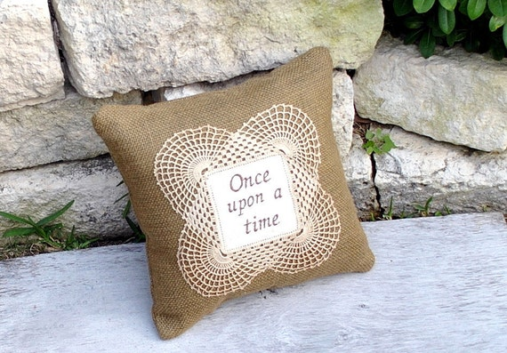 Burlap and vintage Lace Embroidered Pillow