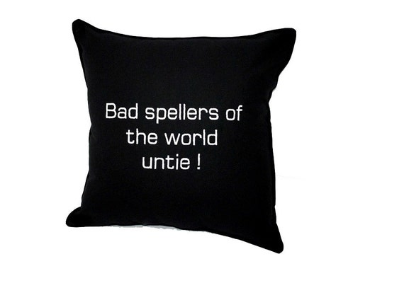 Bad Spellers Black Cotton Embroidered Pillow