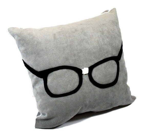 Geek Glasses  on Gray Ultra Suede Pillow Geeky Nerdy Pillow