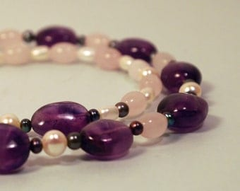 Amethyst, Rose Quartz and Pearl Necklace
