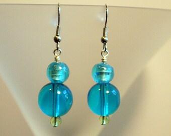Caribbean Blue Glass Earrings