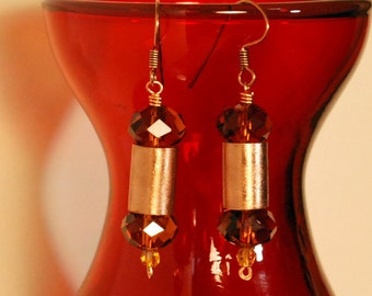 Brushed copper and crystal earrings