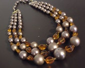 Vintage Multi Strand Glass Bead Necklace-Strand Necklace-Brown Necklace