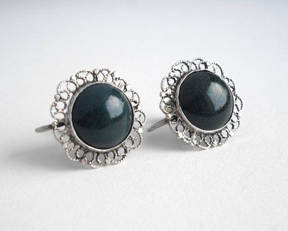 Vintage Green Stone Earrings