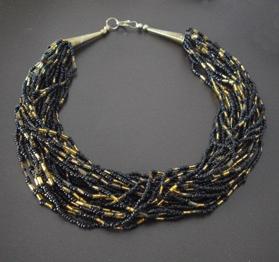 Vintage Torsade Seed Bead Necklace