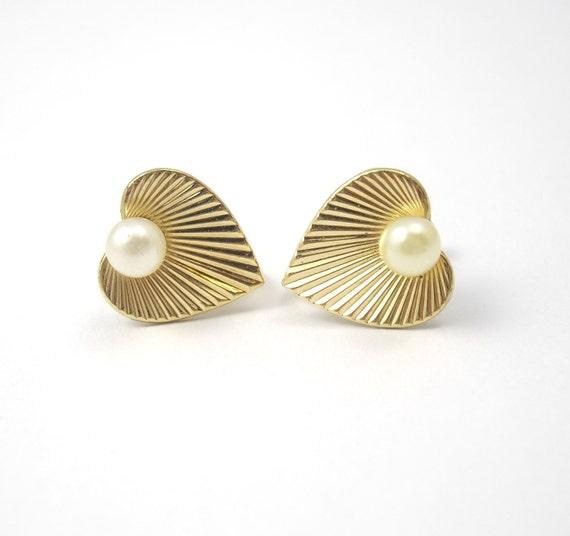 Vintage Van Dell Gold Filled Heart Earrings, Gold Earrings, Pearl Earrings, Gold Filled Earrings