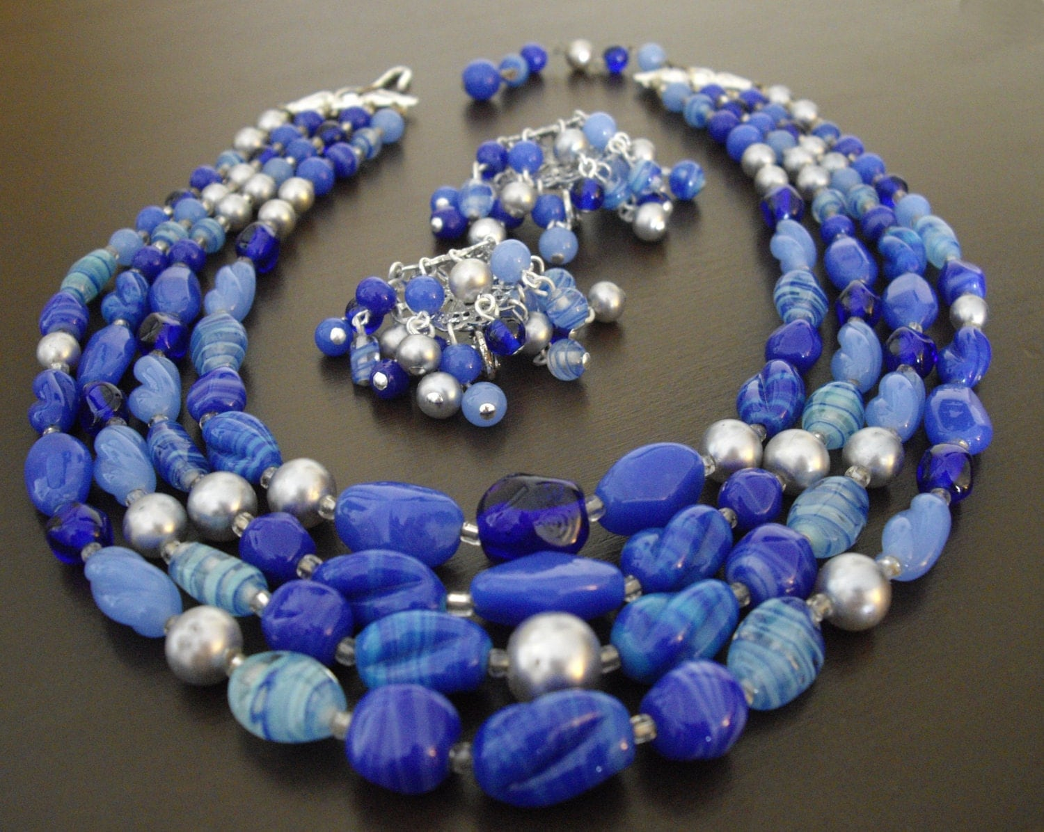 vintage multi strand glass bead necklace and earrings set