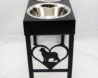 Newfoundland Elevated Metal Art Dog Feeder Raised Bowl Holder New Sizes Single, Double or Triple Dish