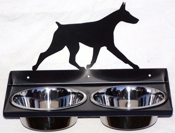 elevated wall mount metal dog feeder for doberman pinscher. Black Bedroom Furniture Sets. Home Design Ideas