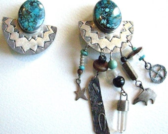 Sterling and Turquoise Asymetrical Trina Badarak Earrings