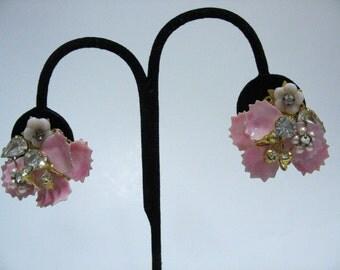 Vintage Pink Enamel Pearl Rhinestone Earrings