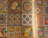ROLLED GIFTWRAP 15 foot (5 yard) lot hand rolled AUTUMN Thanksgiving Golden Mosaic Marcel Schurman (Papyrus) Peggy Toole