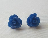 Dark Blue Rose Stud Earrings