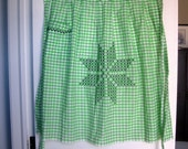 Vintage Green Gingham Half Apron with Hand Stitching, Generous Size