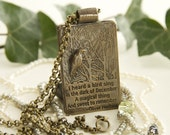 Oliver Herford Bronze Quotation I Heard a Bird Sing in The Dark of December pendant  or keyring