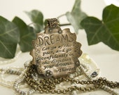 Thoreau Bronze Quotation Pendant Let Go of the Past, and Go Confidently in the Direction of Your Dreams...