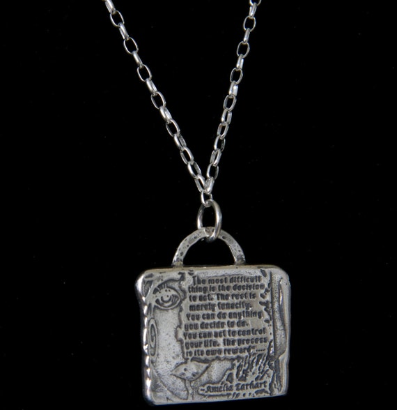 Amelia Earhart The Most Difficult Thing Decision to Act Tenacity Quotation Sterling Silver Chain Czech Glass