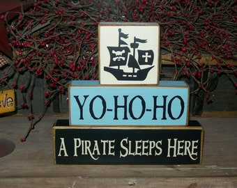 Boys Pirate Ship Wood Sign Blocks Birthday Parties Centerpiece Personalized Stacking Blocks Pirate Ship