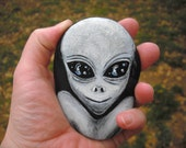 Grey Alien - Hand-painted Lake Superior Rock Paperweight Companion