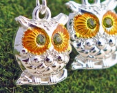 Owl earrings with Green swarovski crystal eyes on silver plated earwires
