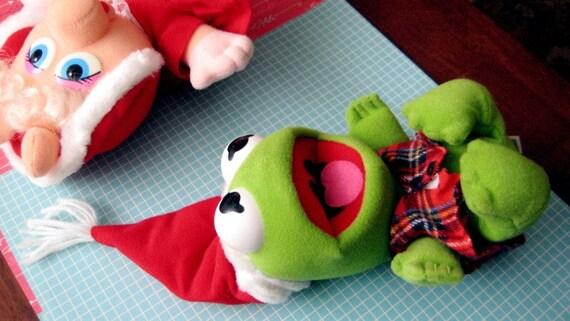 Vintage 80s Muppet Babies Kermit The Frog Xmas Plush