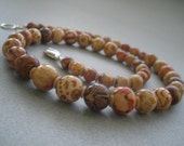 Foliage - Funky painted wooden bead necklace in neutral khaki, red and brown
