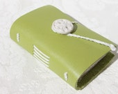 Spring Green - Wee Petite Book - Handmade - Leather