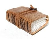 Leather Journal  - Wee Chunky Book - Handmade - Rustic Brown
